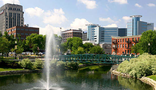 image of fountain in Kalamazoo, Michigan
